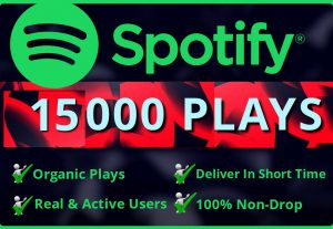 Add Real  15000 Spotify Plays HQ – Permanent Non– Drop Life Time Guarantee