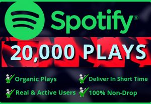 Add Real  20, 000 Spotify Plays HQ – Permanent Non– Drop Life Time Guarantee
