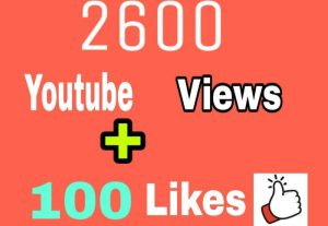 Add 2600+ YouTube Video Views and 100 Video Likes, Real Active Views, Refill Guaranteed incase Views Drop