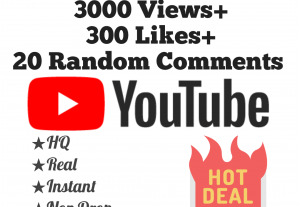 Add 3000+ YouTube Views, 300+ Likes & 20 Random Comments at Instant with lifetime guarantee!!
