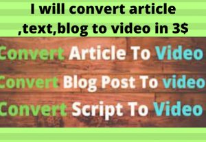 I will convert article,blog,text into video