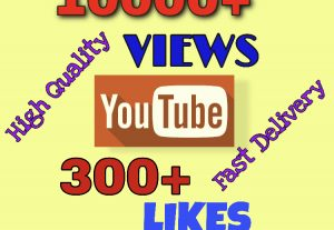 I will add 10000+ VIEWS & 300+ LIKES on YouTube. Very High Quality & Fast Delivery !!