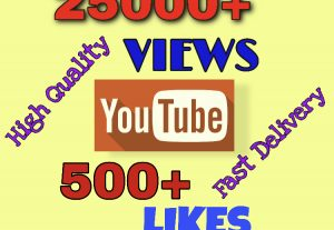 I will add 25000+ VIEWS & 500+ LIKES on YouTube. Very High Quality & Fast Delivery !!