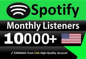 Add 10,000 SPOTIFY Monthly LIsteners From USA HIGH-QUALITY Accounts