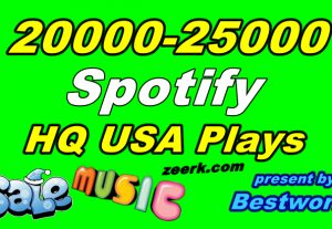 You will get 20000-25000 Natural Spotify USA Plays from High-Quality USA Account Lifetime Guaranteed
