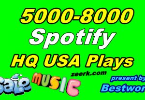 Get 5000-8000 Natural Spotify USA Plays from High-Quality USA Account Lifetime Guaranteed