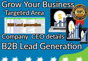 I will do B2B lead generation and  targeted lead for your business purposes
