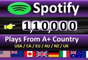 Get ORGANIC 110,000 Spotify Plays From A+ Country USA/CA/EU/AU/NZ/UK, Real and Active Users , Permanent Guaranteed