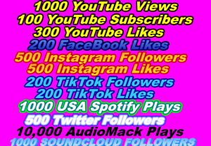 I will give 1000 YouTube Views Or 100 YouTube Subscribers Or 300 YouTube Likes Or 200 FaceBook Likes Or 500 Instagram Followers Or 500 Instagram Likes Or, 200 TikTok Followers