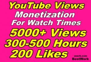 Add 5000 YouTube Views, 500 Hours, 200 Likes HR Monetization for watch times