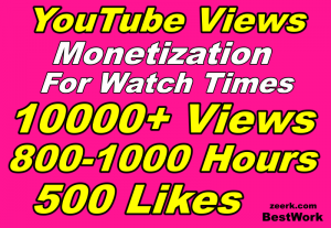 You will get 10000 YouTube Views, 1000 Hours, 500 Likes HR Monetization for watch times