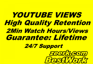 I will Provide 1000 YouTube Views High-Quality Retention 1-2 Min Watch Hours – SEO Views – Google Search