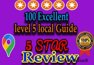 I will Provide 100 Excellent local guide level 5 reviews In Your Google Map