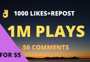 Get 1,000,000 Soundcloud Plays, 1000 Likes, 1000 Reposts, and 50 Comments