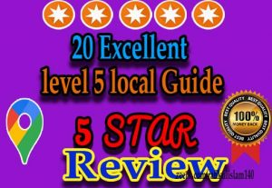 I will Provide 20 Excellent local guide level 5 reviews In Your Google Map