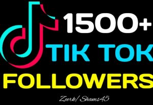 I will give you 1500+ TikTok Organic Followers, Real Active User, High Quality, Non-drop, Lifetime User Guaranteed