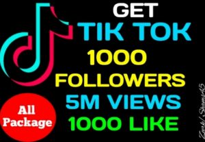 Get Package 1000+ Tiktok Followers, 5M Views, 1000+ Likes, Real active user, non-drop, High quality, lifetime guaranteed
