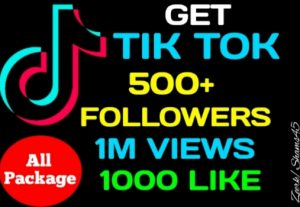 Get Package 500+ Tiktok Followers, 1M Views, 1000+ Likes, Real active user, non-drop, High quality, lifetime guaranteed