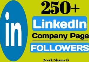 Get 250+ Linkedin Company Page Followers instant, organic and real, non-drop, active user guaranteed