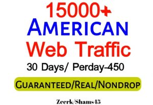 Get 15000+ American Organic Web Traffic For Your Website,(per day-450, 30 days) organic and real, active user, Real Visitors guaranteed