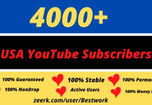 You will get 4000 USA YouTube Subscribers Non-drop Lifetime Guaranteed