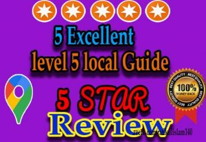 I will Provide 5 Excellent local guide level 5 reviews In Your Google Map
