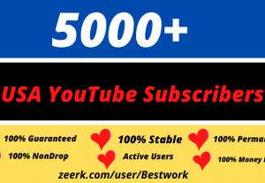 I will Provide 5000 USA YouTube Subscribers Permanently Guaranteed