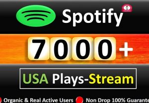 Get 7000 to 9000 Spotify ORGANIC Plays From HQ Account of USA or A+ Country CA/EU/AU/NZ/UK. Permanent Guaranteed
