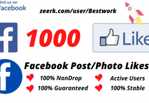 I will Add 1000 Facebook Post/Photo Likes NonDrop Lifetime Guaranteed