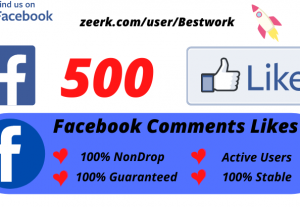 I will Add 500 Facebook Comments Likes NonDrop Lifetime Guaranteed