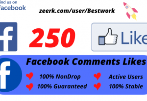 I will Add 250 Facebook Comments Likes NonDrop Lifetime Guaranteed