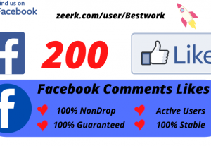 I will Add 200 Facebook Comments Likes NonDrop Lifetime Guaranteed