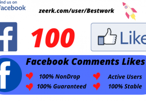 I will Add 100 Facebook Comments Likes NonDrop Lifetime Guaranteed