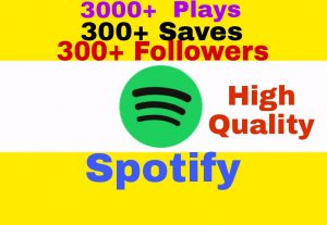 Add High Quality and 100% Non Drop 3000+ Plays, 300+ Saves and 300+ Followers to Your Spotify Post