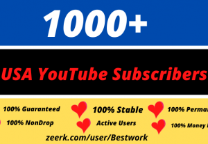 I will add 1000 USA YouTube Subscribers Nondrop Lifetime Guaranteed