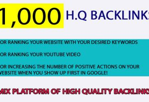 1000+ Mix Platform Of High Quality backlinks for $4