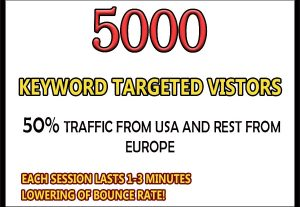 5000 keyword targeted google organic traffic for $3