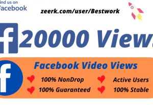 I will Add 20k/20000 Facebook Video Views High-Quality Non drop Permanent Lifetime Guaranteed