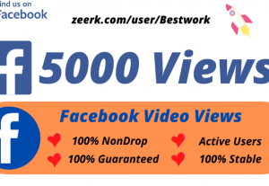 I will Add Facebook 5000 Video Views High-Quality Non drop Permanent Lifetime Guaranteed
