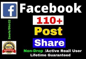 Get 110+ Facebook Post Share Instant only 4$, Non-Drop, Real User, Lifetime guaranteed, Refill Allowed