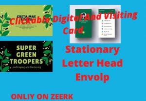 Clickable Digital and visiting Card ,statiinary