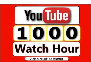 Get 1000+ Hour Youtube Watch Time ,Life Time Guranteed Service For 20$