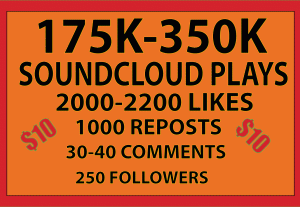 175K-350K SOUNDCLOUD PLAYS 2000-2200  LIKES 1000 REPOST 30-40 COMMENTS 250 FOLLOWERS