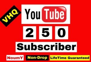 Get Instant, Non-Drop VHQ 250 + YouTube Subscribers ,100% Real, , Lifetime permanent