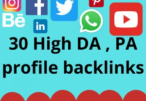 I will Create 30 High Authority Social profile creation backlinks building