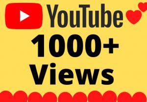 I will Add 1000+ HQ & Non Drop YOUTUBE views