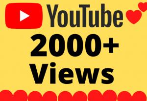 I will Add 2000+ HQ & Non Drop YOUTUBE views