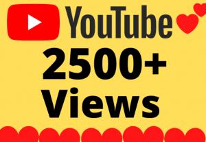 I will Add 2500+ HQ & Non Drop YOUTUBE views