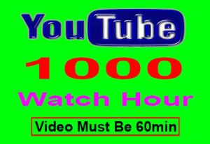 Get 1000+ Hour YouTube Watch Time ,Life Time Guaranteed Service For $18