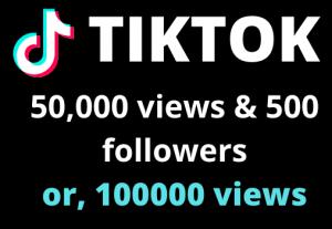 I will add 50000 TIKTOK views & 500 FOLLOWERS  OR,100000 views